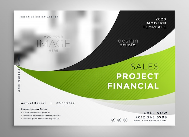 抽象的なグリーンウェーブスタイルのビジネスパンフレットのデザイン