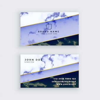 Стильный синий мраморный дизайн визитной карточки