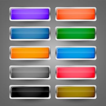 Набор пустых металлических глянцевых веб-кнопок