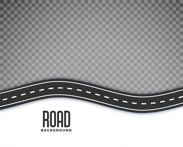 白いマーキングと湾曲した道路の背景