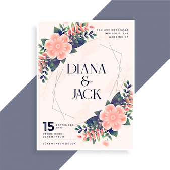 花飾り付きの結婚式の招待カードデザイン