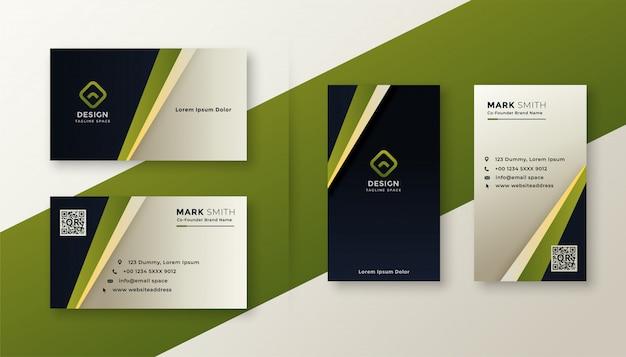 Современный зеленый стильный дизайн визитной карточки