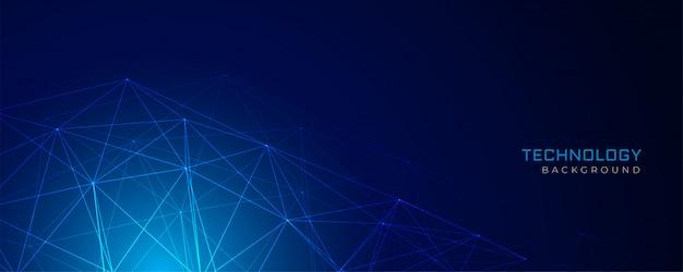 Абстрактный синий фон технологии сети проволочной сетки