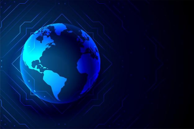 グローバルテクノロジー地球バナーデジタル背景