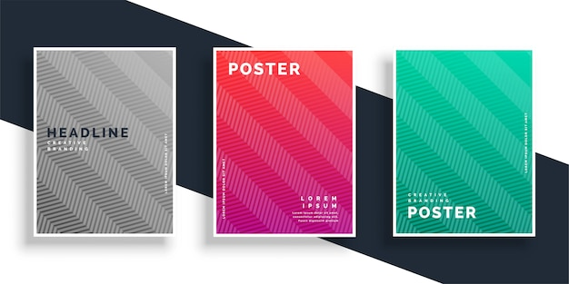 Набор абстрактных цветных зигзагообразных плакатов