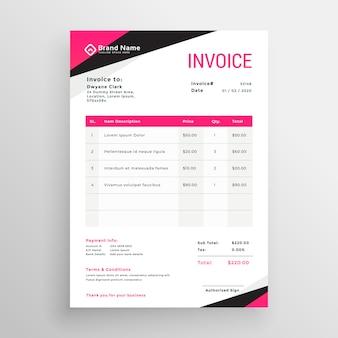 モダンなピンクの幾何学的な請求書テンプレートデザイン