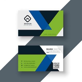 Геометрический зеленый и синий дизайн визитной карточки