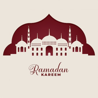 Мечеть силуэты рамадан карим исламский фон