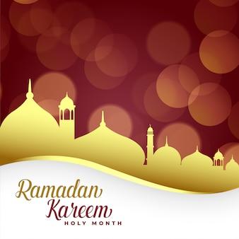 金色のモスクとラマダンカリーム背景