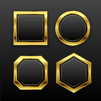 暗い黄金の幾何学的な空のバッジラベルのセット