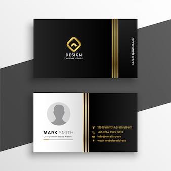 Черный золотой премиум дизайн визитной карточки