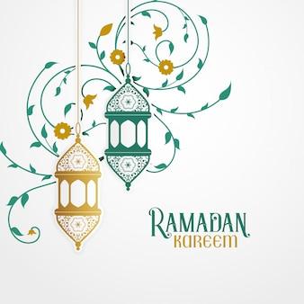 Рамдан карим дизайн с декоративным фонарем и исламским цветочным декором