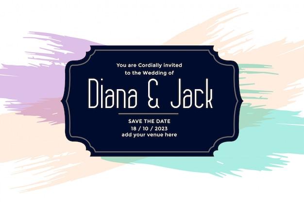 Шаблон свадебной открытки с мазками пастельных цветов