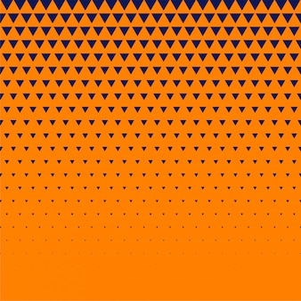 オレンジ色の背景に濃い青の三角形のハーフトーン