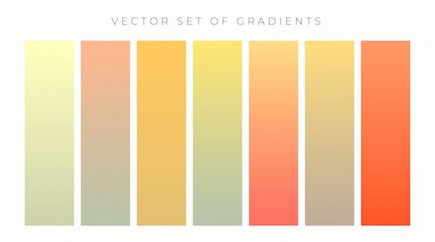 暖かい色鮮やかなグラデーションセットベクトル図