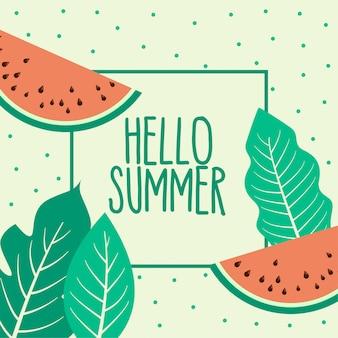 スイカ夏の果物と葉の背景