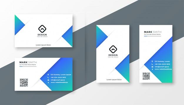 モダンなブルーの三角形の名刺デザイン