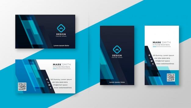 Стильный синий элегантный дизайн визитной карточки