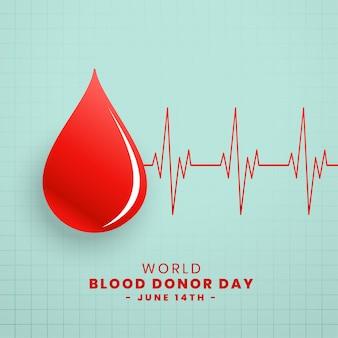 赤の献血者日コンセプトの背景のドロップ