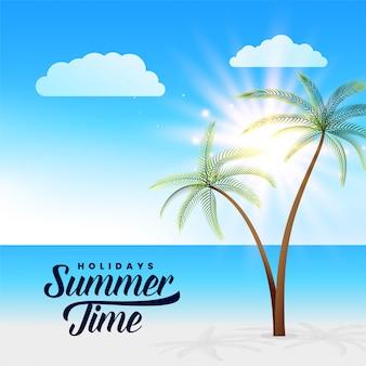 Красивый летний рай пляж сцены фон