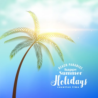 Летний отдых солнечный фон с тропическим деревом