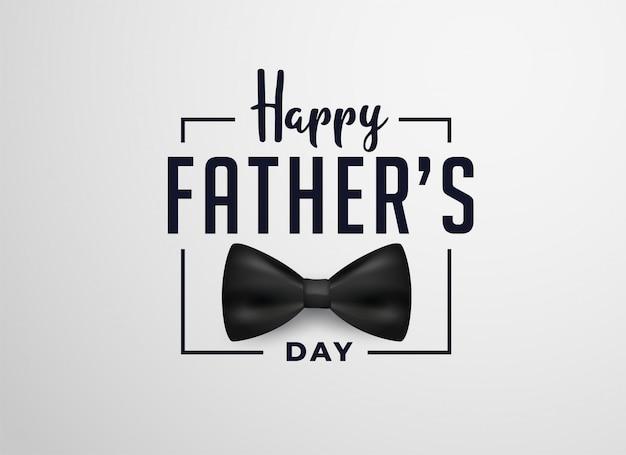 Счастливый день отцов дизайн карты с реалистичным бантом