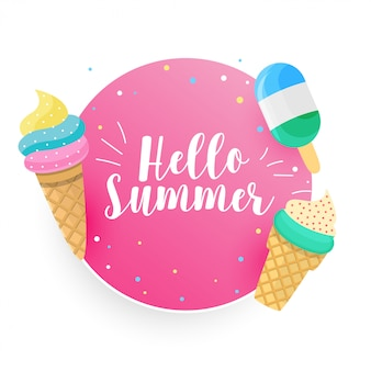 こんにちは夏のアイスクリームの背景