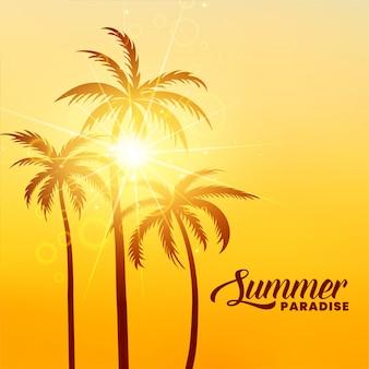 太陽の光と夏の楽園の休日の背景