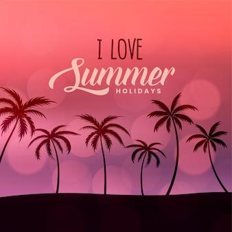 Летние каникулы пляжная сцена фон