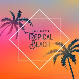 Тропический пляж фон с пальмами