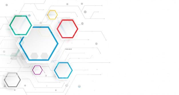 六角形のインフォグラフィックホワイトバックグラウンドテンプレート