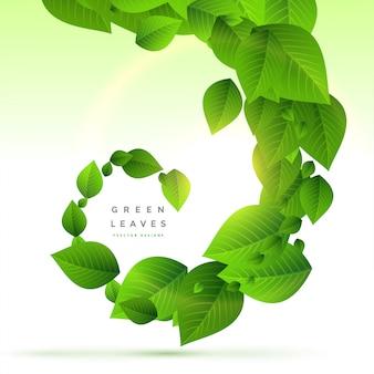 渦巻き模様の背景の緑の葉