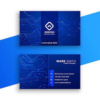 Синяя визитная карточка в стиле технологии