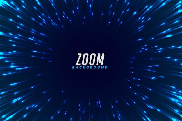 抽象的な青い光るズーム効果の背景