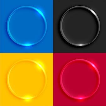 光沢のあるガラスの丸いボタンセット