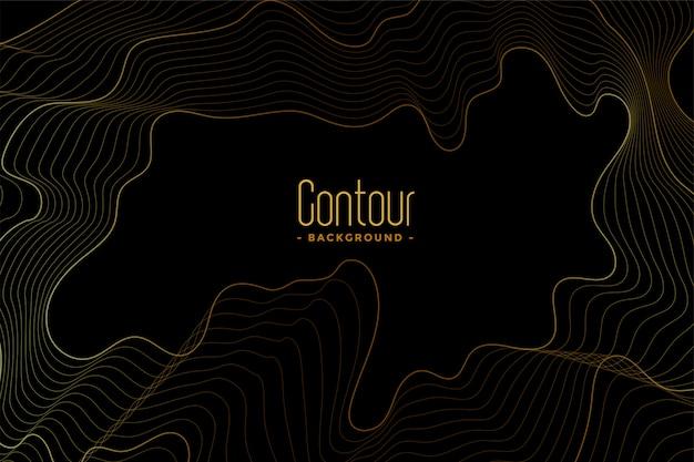 Абстрактный черный темный фон с золотыми контурными линиями
