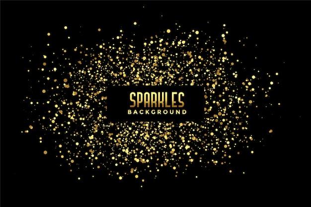 金色のキラキラ輝きと抽象的な黒の背景