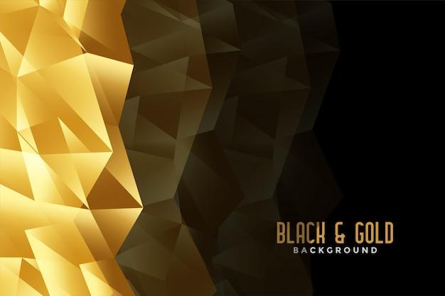 抽象的な低ポリゴールデンと黒の背景