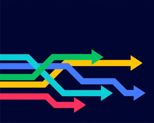 カラフルな幾何学的な矢印を前方に移動