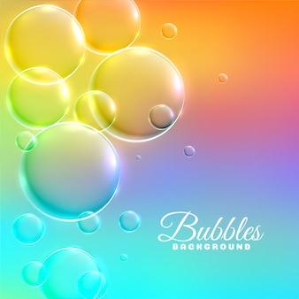 光沢のある泡とカラフルな背景