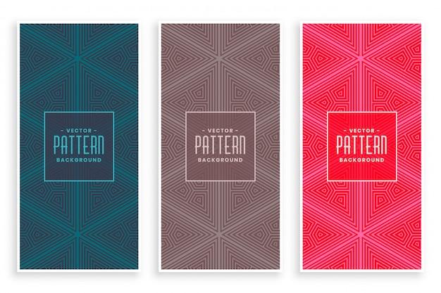 線のスタイルで抽象的な三角形の繰り返しパターン