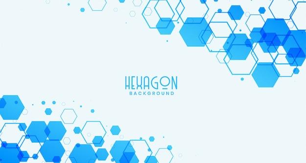 青い六角形の抽象的な白い背景