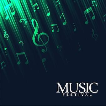 Абстрактный музыкальный фон с зелеными неоновыми огнями