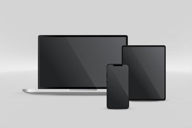 ノートパソコンのタブレットとスマートフォンのプレゼンテーション表示
