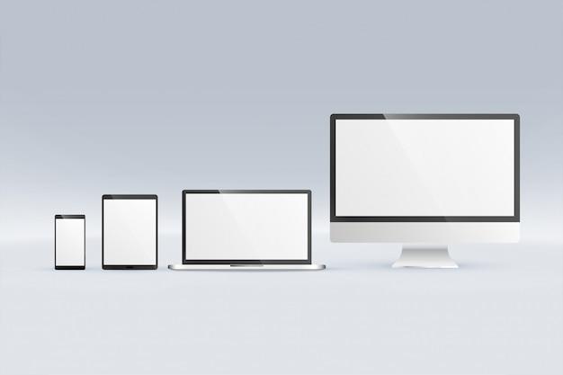 モニターコンピューターのラップトップタブレットとスマートフォンのモックアップ