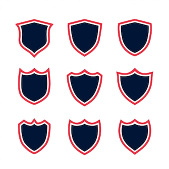 Набор иконок щит с красным контуром