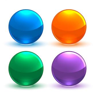 円形の光沢のあるボタンのセット