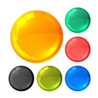 光沢のある明るい丸ボタンセット