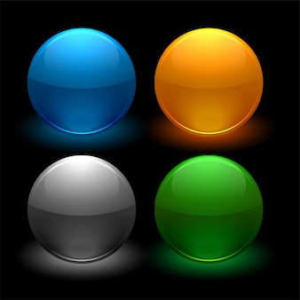Глянцевые кнопки в четырех цветах