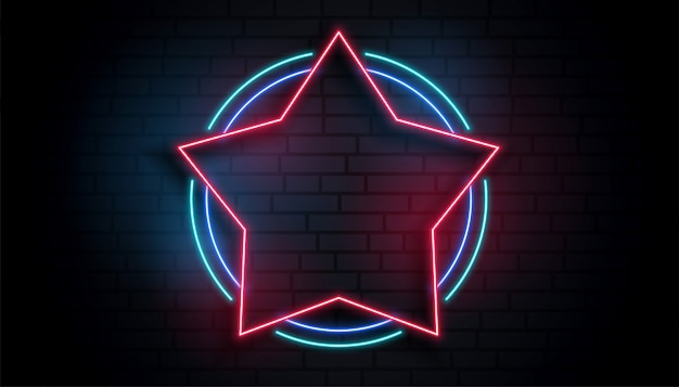 Неоновая звезда пустая рамка фон